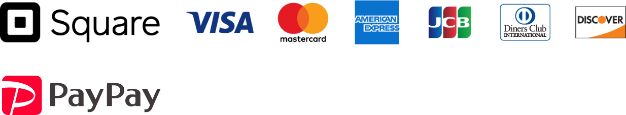 Square VISA mastercard AMERICANEXPRESS JCB DinersClub DISCOVER PayPay